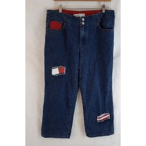 2002 TOMMY HILFIGER Patches Wide Leg Crop Jeans 12